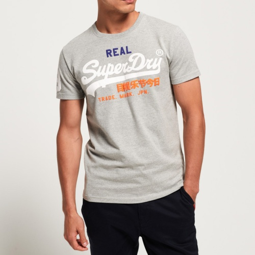 T Shirt homme Superdry Vintage Logo Tri Tee gris montana