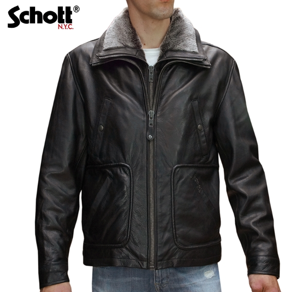 ba6d228f19c2 Schott - blouson en cuir Schott type pilote doublure cuir et fourrure  amovible