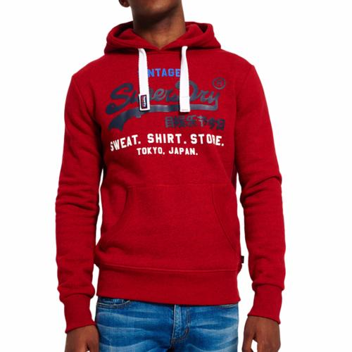 Sweat à capuche Superdry homme rouge chiné