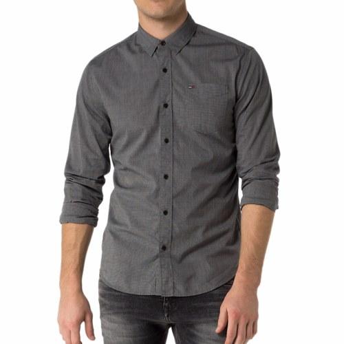 chemise homme tommy hilfiger denim gris anthracite. Black Bedroom Furniture Sets. Home Design Ideas