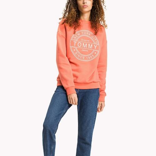 sweat femme tommy hilfiger jeans corail logo blanc. Black Bedroom Furniture Sets. Home Design Ideas
