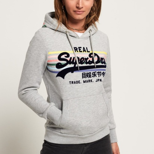 Sweat femme Superdry Rainbow Stripe gris