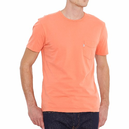 Tee Shirt Levis homme modèle Sunset Pocket Tee en coton couleur Apricot Brandy