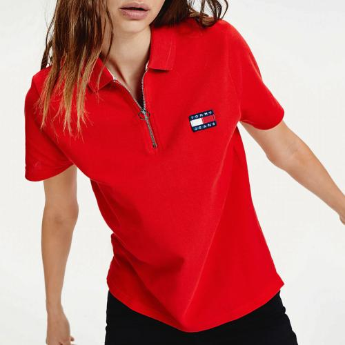 Polo femme Tommy Hilfiger Jeans rouge