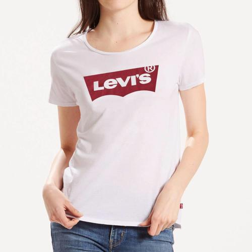 T Shirt Levis femme perfect tee blanc logo batwing Levi's rouge