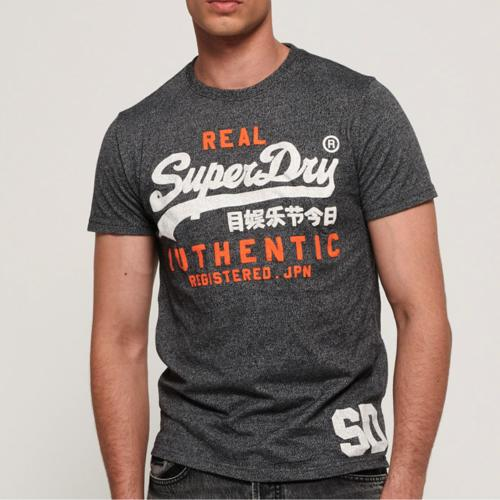 T Shirt homme Superdry Vintage Authentic Duo Tee gris