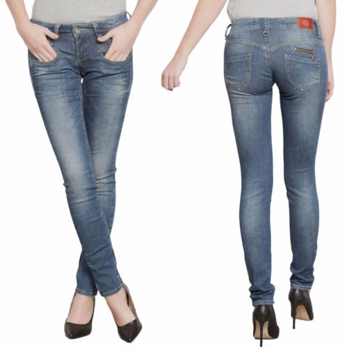 Jean slim Freeman T Porter femme modèle Alexa Magic Denim délavage Flexy blue
