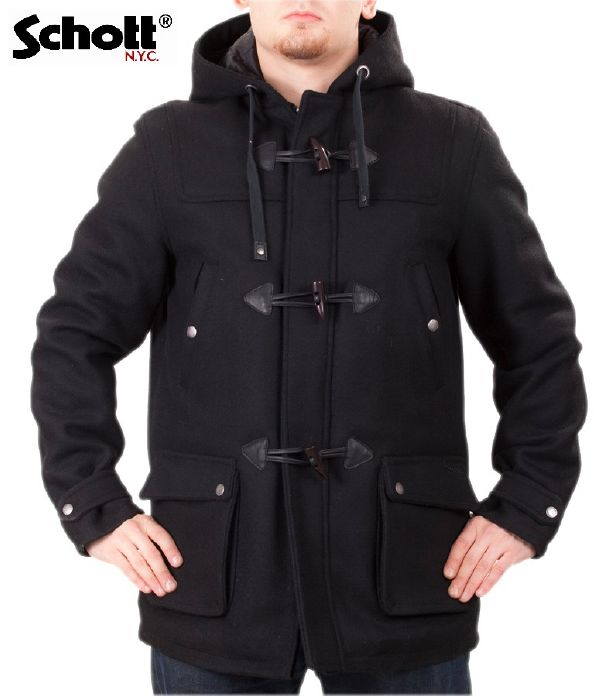 manteau duffle coat schott warren noir pour homme. Black Bedroom Furniture Sets. Home Design Ideas