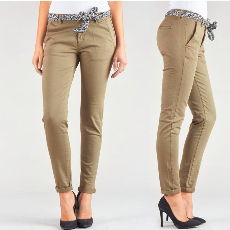 Pantalon chino femme le temps des cerises lidy baige camel - Pantalon treillis femme le temps des cerises ...