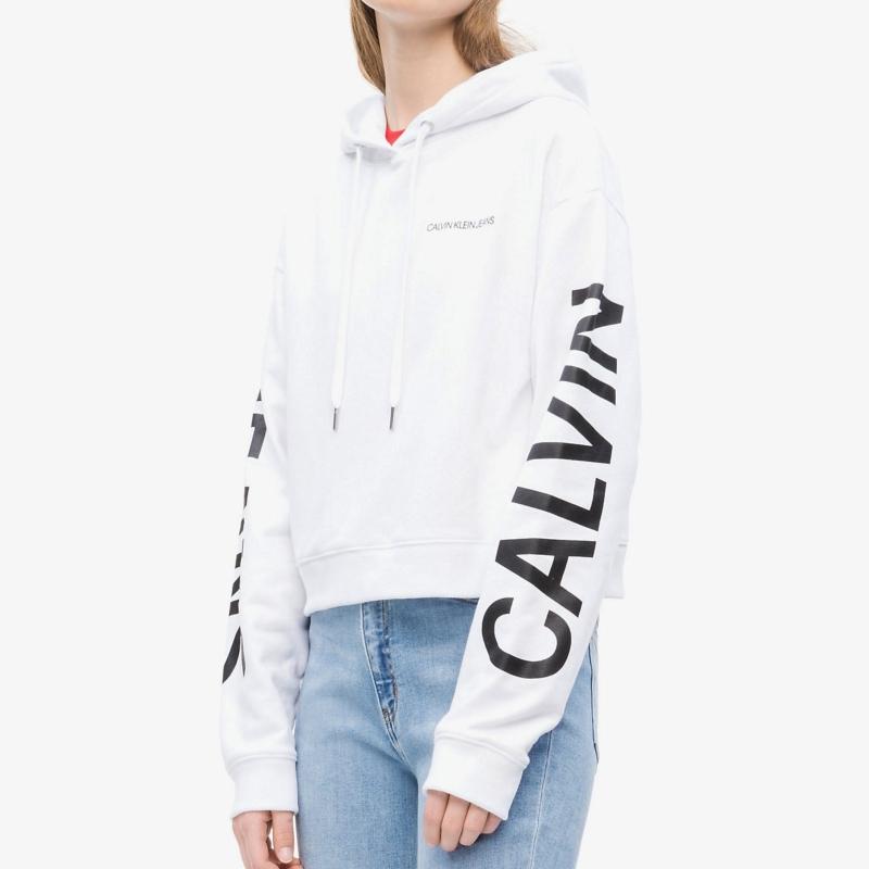 c9212fba72f Sweat capuche Calvin Klein CK Jeans femme blanc logo noir ...