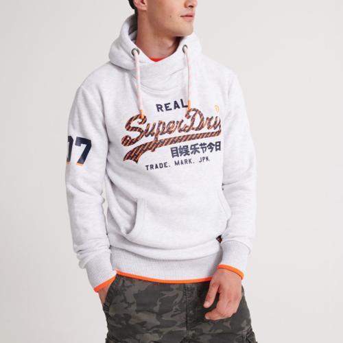 Sweat à capuche Superdry homme Vintage Logo gris clair chiné