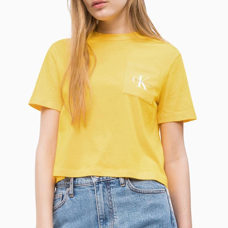 T Shirt Calvin Klein Jeans femme jaune logo sur poche