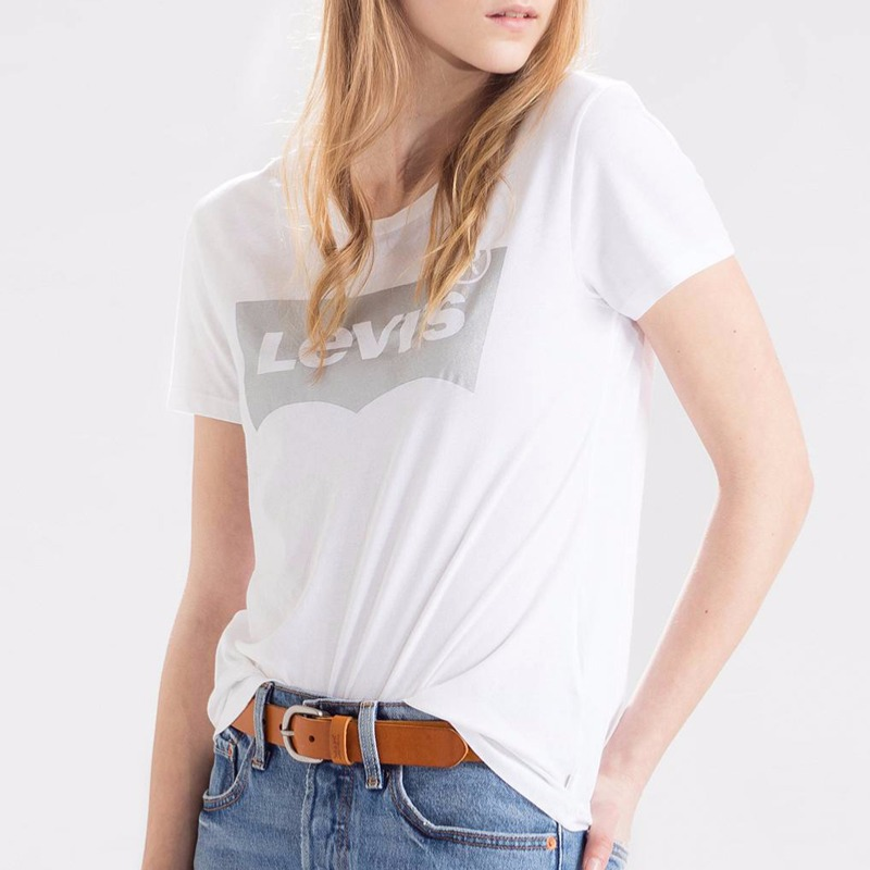 t shirt femme levis blanc avec grand logo levi 39 s argent. Black Bedroom Furniture Sets. Home Design Ideas
