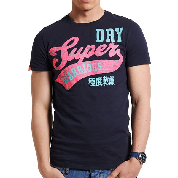 Superdry - Tee Shirt Superdry homme modèle Warriors Tee French Navy