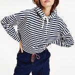Sweat capuche crop top femme Tommy Jeans / Tommy Hilfiger rayé