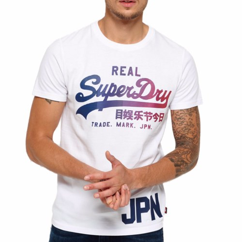 T Shirt Superdry Vintage Real Logo blanc pour homme