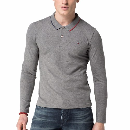 Polo Tommy Hilfiger homme manches longues modèle Paddy gris