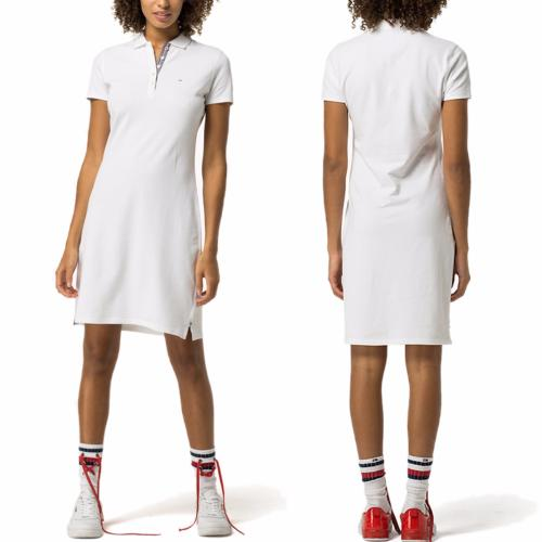 Robe polo Tommy Hilfiger femme collection Hilfiger Denim en maille piquée blanc