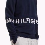 Sweat Tommy Hilfiger Denim homme bleu marine avec grand logo blanc