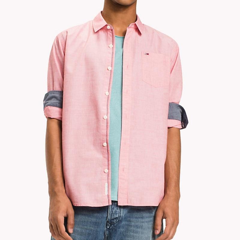 Chemise slim fit rose tommy hilfiger jeans pour homme for Tommy hilfiger custom fit coupe sur mesure shirt