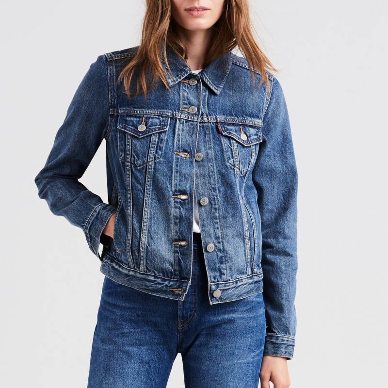 veste en jean femme levis original trucker. Black Bedroom Furniture Sets. Home Design Ideas