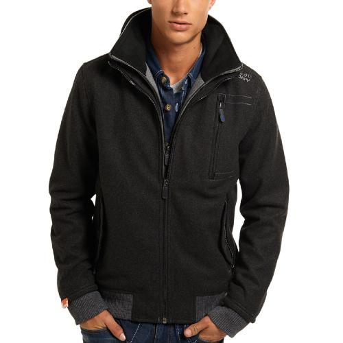 Blouson Superdry Moody Melton Bomber gris anthracite pour homme