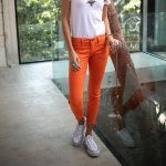 Jean 7/8 éme femme Freeman T Porter Alexa Cropped orange tigerlily