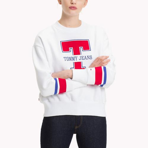 Sweat femme Tommy Jeans blanc T rouge