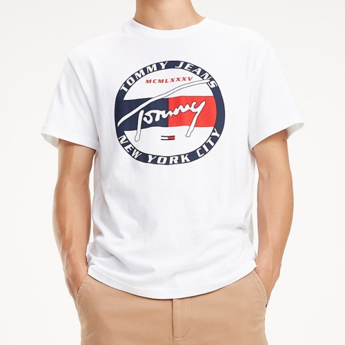 T Shirt blanc Tommy Hilfiger Jeans Circle Tee pour homme