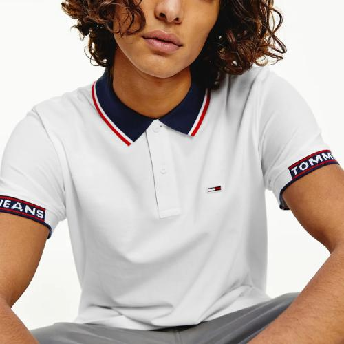 Polo blanc Tommy Jeans Homme col contrasté