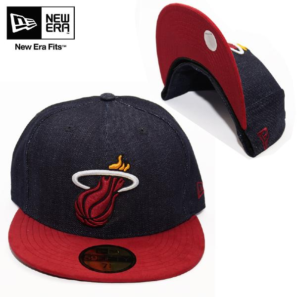 Casquette New Era Miami Heat 59 Fifty en denim et suédine rouge