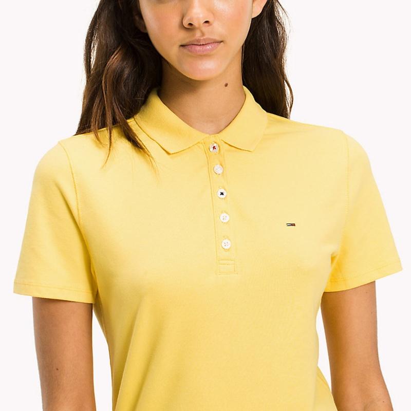 polo femme tommy hilfiger jeans couleur jaune dandelion