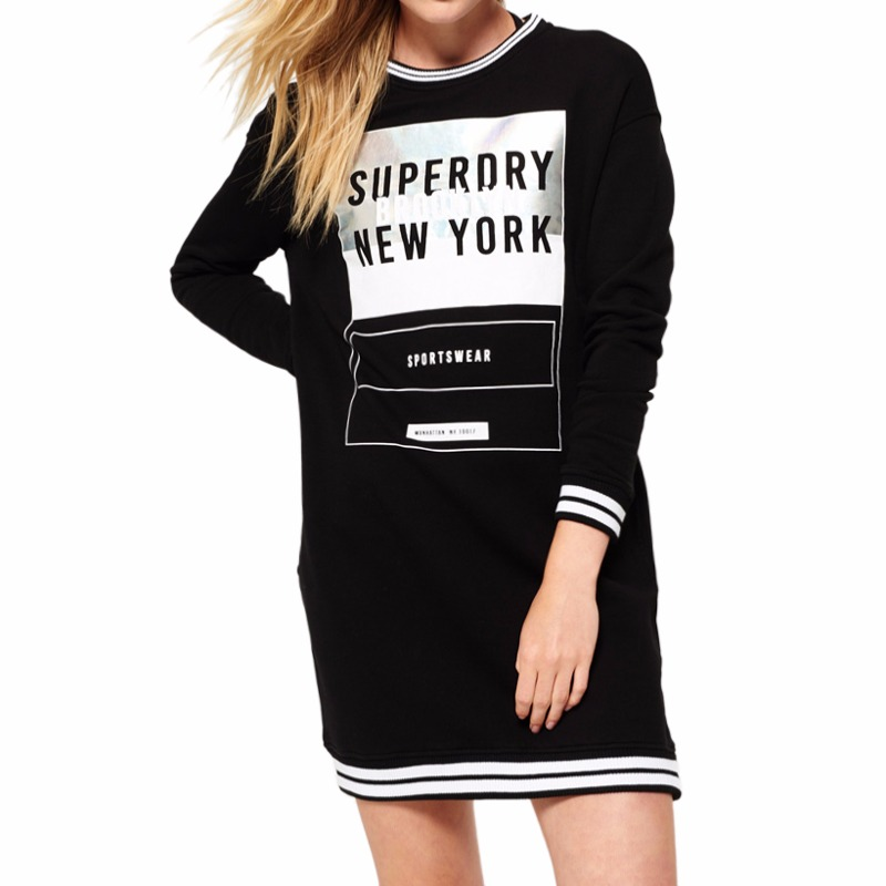 Robe Sweat Superdry noire logo Superdry New York argent