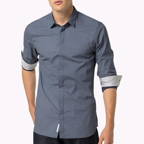 Chemise homme Tommy Hilfiger à motifs bleu marine coupe slim fit