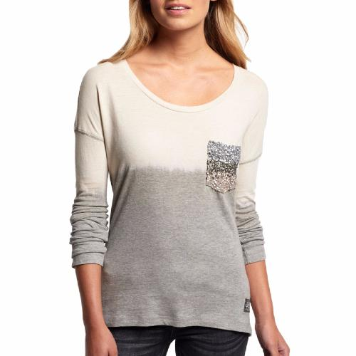 Top Superdry femme modèle Ombre Sequin Pocket en coton gris