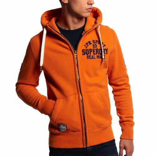 veste homme superdry core applique ziphood en coton orange. Black Bedroom Furniture Sets. Home Design Ideas